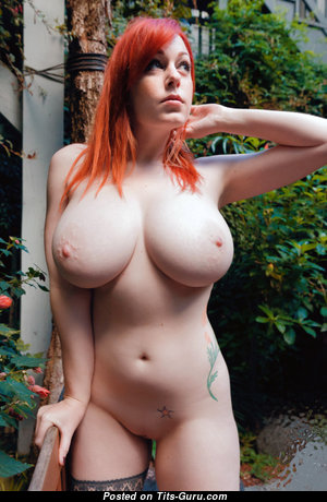 Pleasing Red Hair Babe with Pleasing Open Natural Mega Titties (18+ Photo)