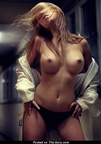 Sexy topless amateur wonderful woman with medium fake boobies image