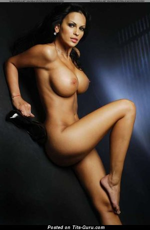 Naked nice female with big fake tots photo