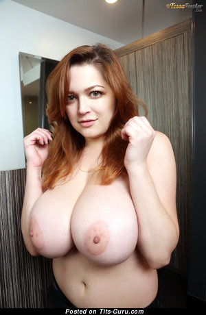 Tessa Fowler & Yummy Topless American Red Hair & Brunette Pornstar & Babe with Yummy Bald Natural G Size Tittes & Big Nipples (Hd Sex Image)