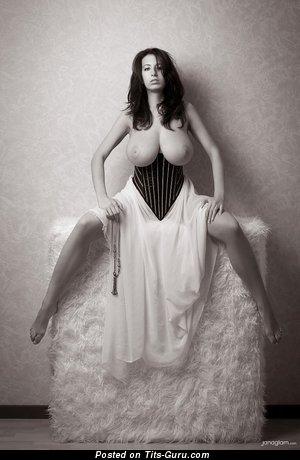 Jana Defi - Lovely Czech Brunette with Lovely Exposed Real Gargantuan Tittys (Porn Picture)