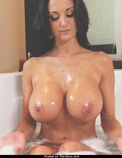 Image. Sexy wet naked brunette with big fake boobs gif