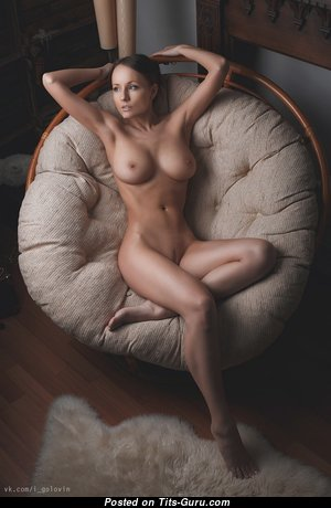 Dazzling Brunette with Dazzling Bare Natural C Size Jugs & Giant Nipples (Hd Sexual Image)