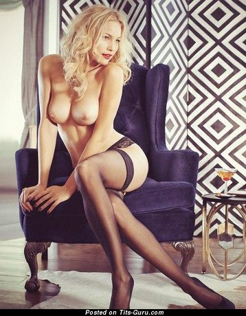 Beautiful Blonde Babe with Beautiful Nude Real Medium Titties in Stockings (18+ Pix)