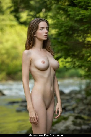 Mariposa A: topless brunette with big nipples image