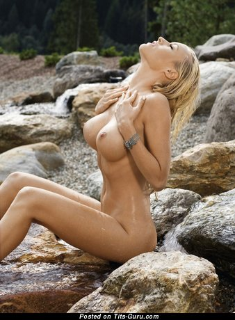 Image. Naked beautiful lady with big fake boob pic
