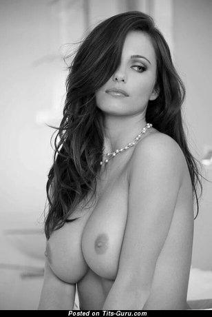 Nude brunette with medium natural tots photo