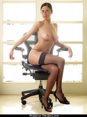 Nice Topless Dish with Nice Open Natural Regular Tits in Stockings & High Heels (Hd Sexual Pic)