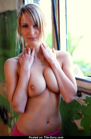 Iva: sexy topless amateur blonde with medium natural boob & big nipples photo