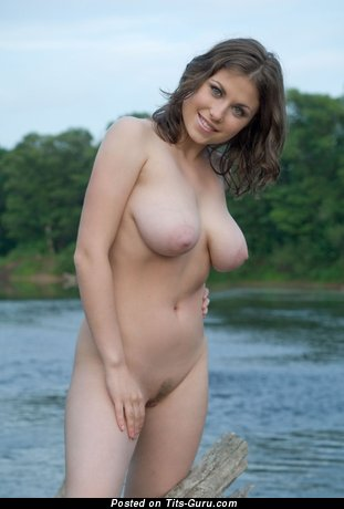 Image. Nude brunette with big natural boobies and big nipples photo