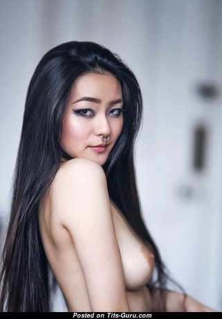 Rae Lil Black - Delightful Topless Asian Brunette with Delightful Exposed Natural Normal Busts & Piercing (Sexual Pic)