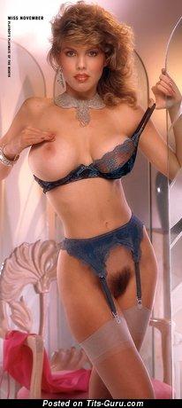Donna Edmondson: брюнетка Playboy красотка (США) с восхитительной оголённой средней грудью (старое hd эротическое изображение)