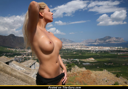 Image. Topless blonde with medium tots picture