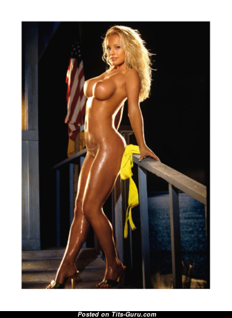 Jaime Bergman - Amazing American Playboy Blonde with Amazing Defenseless Round Fake Dd Size Tittys on the Beach (Xxx Picture)