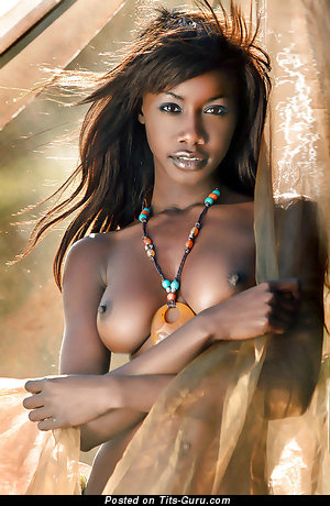 Nude ebony with medium natural tits image