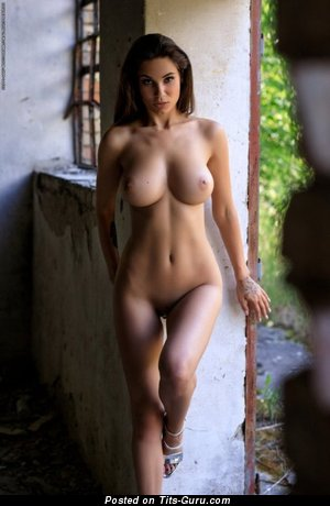 Sexy topless brunette with medium natural tittys photo