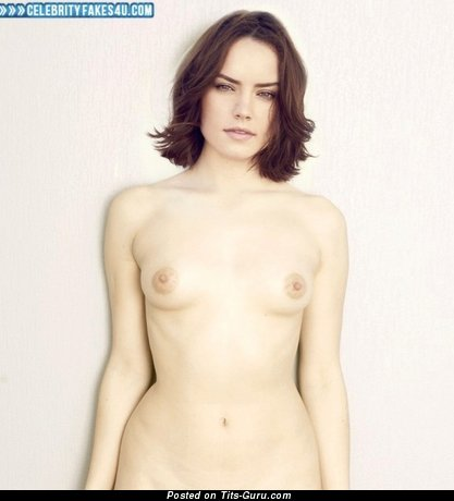 Daisy Ridley - Delightful Topless British Brunette Actress & Babe with Delightful Nude Real Flat Breasts & Red Nipples (Xxx Wallpaper)