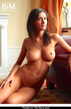 Klaudia - Amazing Glamour Brunette with Amazing Naked Natural Mid Size Titty & Pointy Nipples (Hd Porn Photoshoot)