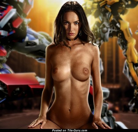 Megan Fox - wet topless brunette with medium fake tots, tattoo and big nipples photo