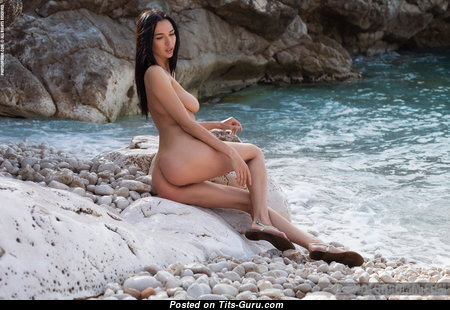 Anastasya B - Sweet Topless & Glamour Brunette Pornstar with Red Nipples, Sexy Legs on the Beach (Hd 18+ Image)