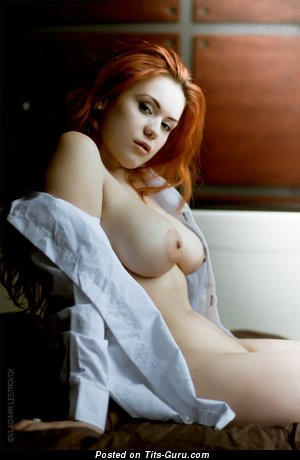 Image. Slavka Solnechnaya - red hair with huge natural boobs photo