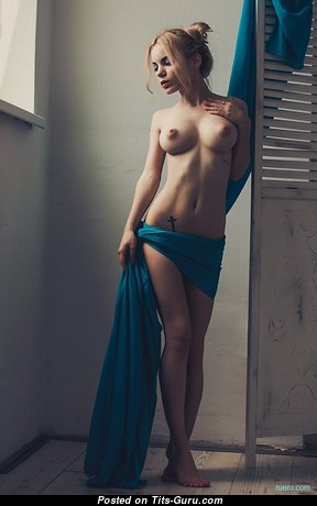 Nadia Rusu - Magnificent Blonde with Magnificent Bald Real Firm Boob (Sexual Image)