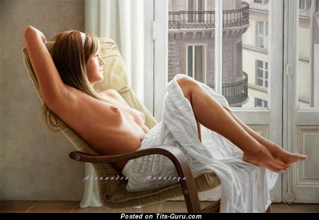 Изображение. Картинка горячей раздетой девахи с среднего размера натуральными дойками