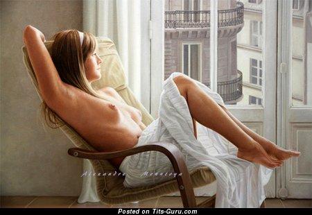 Image. Nude amazing lady with medium natural boobies photo