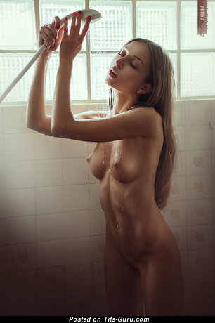 Image. Wet nude red hair with medium natural tittes image