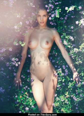 Elisa Meliani - Pleasing Topless Playboy Brunette Babe with Erect Nipples, Sexy Legs (18+ Picture)
