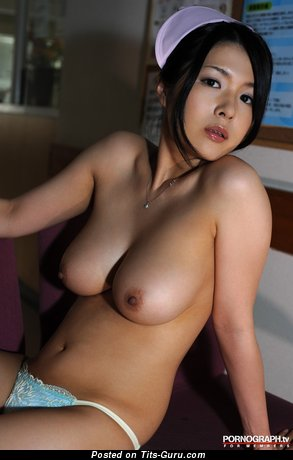 Naked asian brunette with natural boobies image