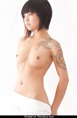 Image. Naked asian with small natural tits and tattoo picture