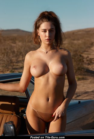 Dazzling Topless Brunette with Dazzling Nude Natural Busts & Large Nipples (Hd 18+ Photo)