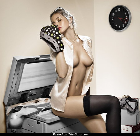 Adorable Blonde with Adorable Naked Natural Normal Titty in Stockings (18+ Pix)