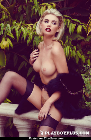 Fascinating Playboy Blonde with Gorgeous Open Real Medium Boob (Porn Photo)