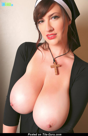 Image. Lana Kendrick - sexy naked brunette with huge natural boobs and big nipples image