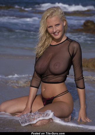 Michelle Marsh - Exquisite Topless, Non-Nude & Wet British Blonde Babe with Exquisite Natural C Size Jugs in Bikini & High Heels on the Beach (Hd Porn Pix)
