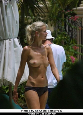 Claudia Schiffer - Fine Topless German Blonde Babe with Grand Bare Real Boobys, Weird Nipples, Sexy Legs in Bikini (Porn Photoshoot)