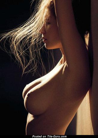 Lovely Brunette Babe with Marvelous Bare Natural Soft Tit (Porn Image)