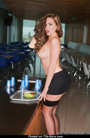Sabine Jemeljanova - Sexy Topless Latvian Red Hair Teacher & Babe with Adorable Naked Natural Normal Tits & Inverted Nipples in Shorts & Stockings (Sexual Wallpaper)