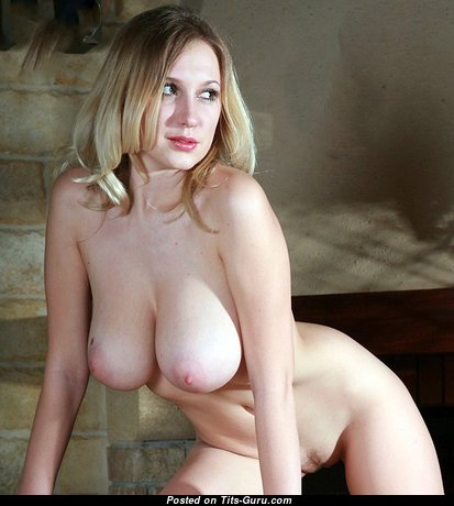 Awesome Blonde with Awesome Nude Natural Medium Sized Tots (Porn Photoshoot)