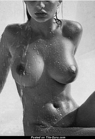Sexy Wet & Topless Brunette Babe with Splendid Exposed Real Med Knockers & Puffy Nipples (Vintage 18+ Photo)