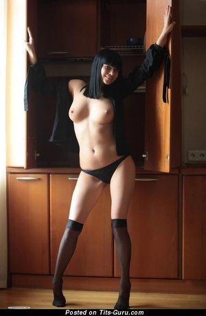 Pretty Moll with Pretty Open Real Medium Sized Chest in Stockings (Hd Porn Foto)