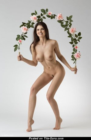Image. Jasmine Andreas - naked brunette with medium natural tots image