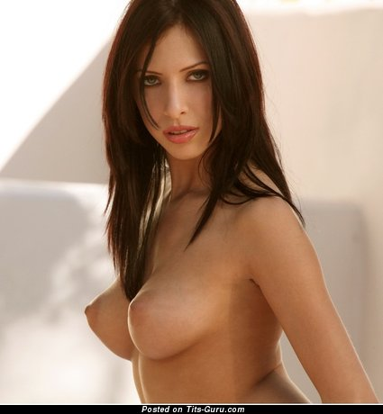 Sexy nude brunette with medium natural tittes image