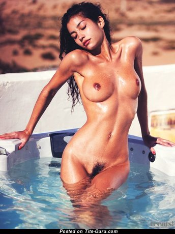 Sexy topless asian brunette image