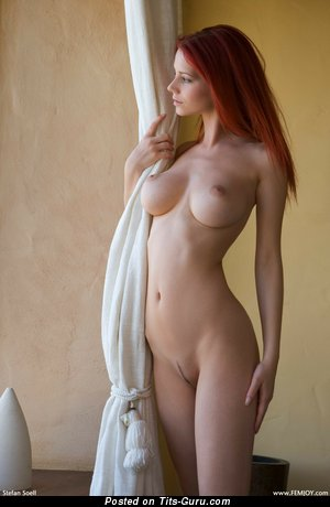 Image. Red hair with big boob pic