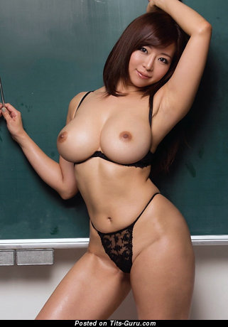 Image. Sexy naked asian brunette with medium boobs pic