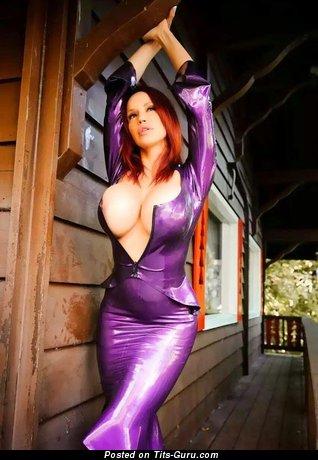 Elegant Gal with Elegant Open Round Fake Giant Balloons (Porn Image)