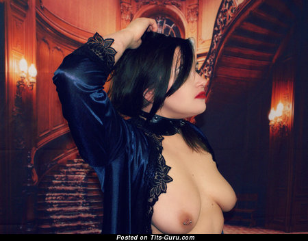 Image. Porsha Louise - topless brunette with medium natural boobs and big nipples pic